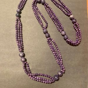 Purple stone beaded chunky necklace